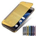 New 2016 Hot Clear View Mirror Flip Electroplating Phone Cases for Samsung Galaxy S7 S7Edge S7