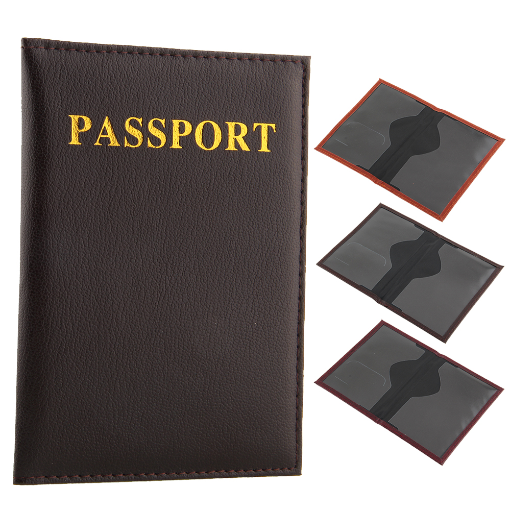 Passport Holder Protector Cover Wallet Leather CoverTravel Wallet Organizer Card Case Brown free shipping