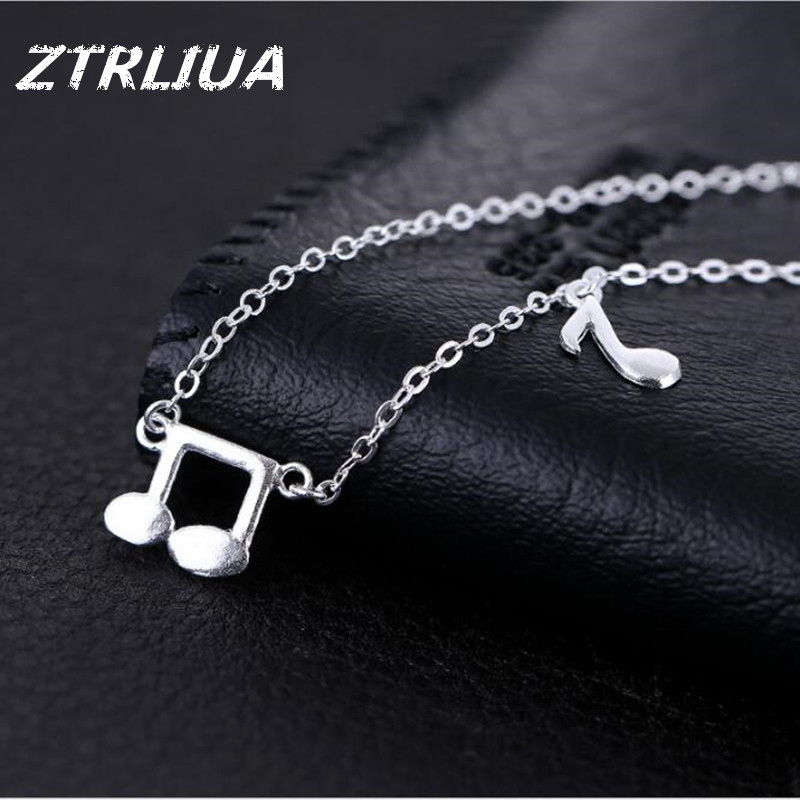 925 Sterling Silver Art Small Fresh Jewelry Music Symbol Wind Accessories Female Sounds Of Nature Pendant Necklace H206(China (Mainland))