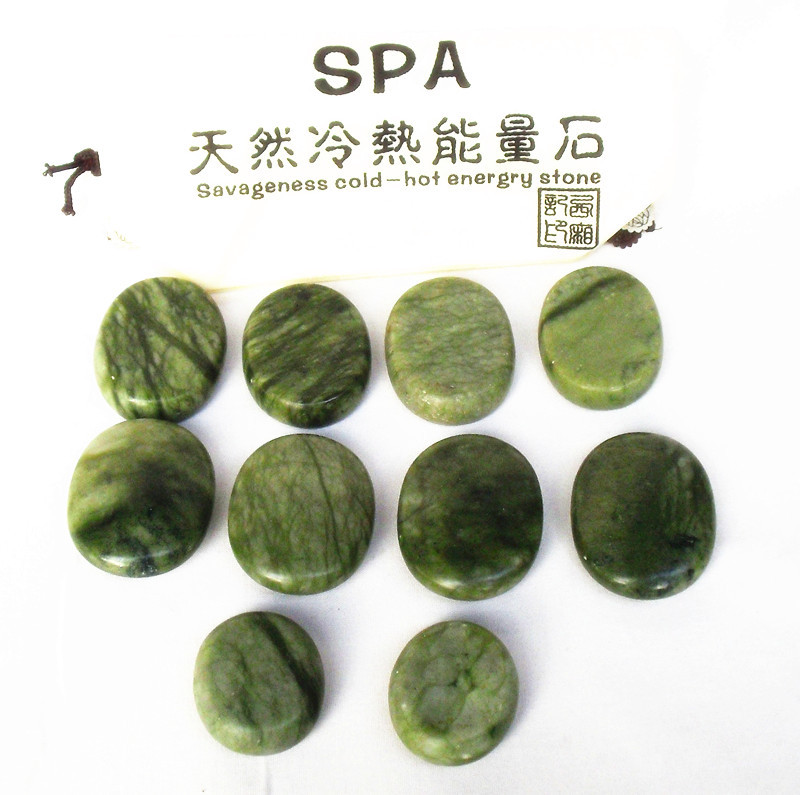 Massage stones massage Natural Energy massage stone set spa rock stone Green jade rock stone massage SPA 10pcs/lot<br><br>Aliexpress