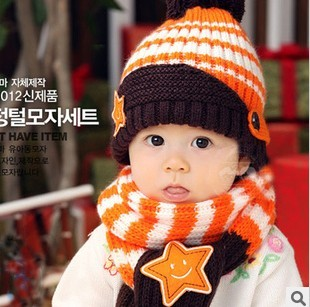 2013 Free shipping Stripe child hat/&scarf twinset child knitted hat knitted cap sleeve fast delivery