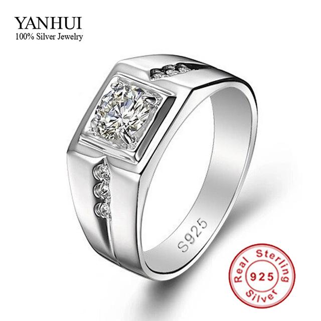 Silver Wedding Rings For Men 0 5 Carat CZ Diamond Men Engagement Ring