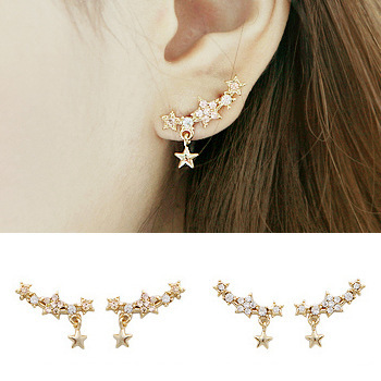 Fine Jewelry Brincos Hot New Star Gorgeous Charming Personalized Rhinestone Curviplanars Pentagram Dangle Earrings for women