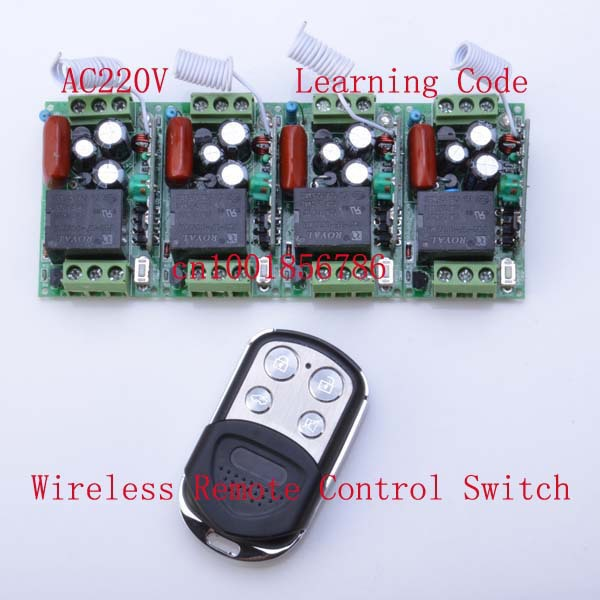 220V 1CH 10A RF Wireless Remote Control Power Switch System ;4 Receivers+1 Transmitter Duplicating Copied Cloning Remote Control(China (Mainland))