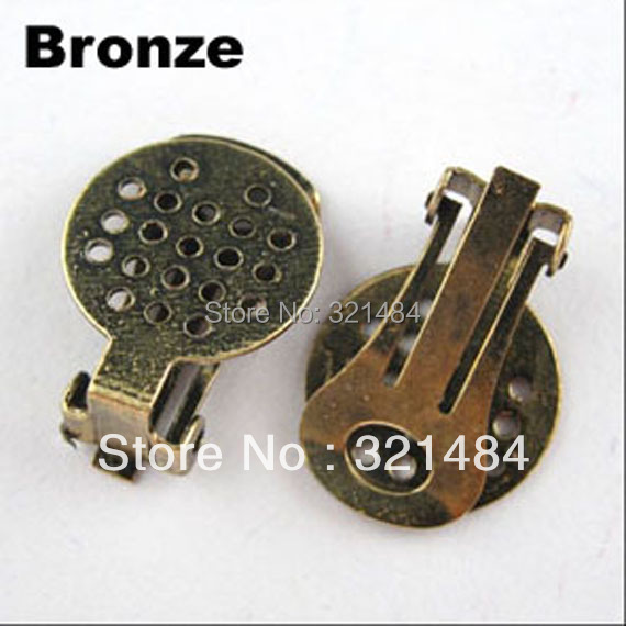 Free ship! Antique bronze Tone Metal 500PCS Earring Clip Findings With 15mm Mesh Earring Base Earring Blanks(China (Mainland))