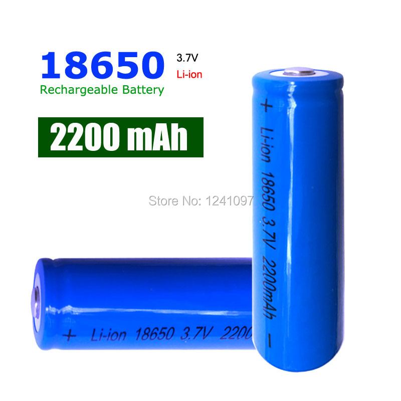 1x18650 Rechargeable Batteries(not AA battery) 3.7v 2200 mAh Lithium Li-ion Battery With Tip Head for Led Flashlight wholesale(China (Mainland))