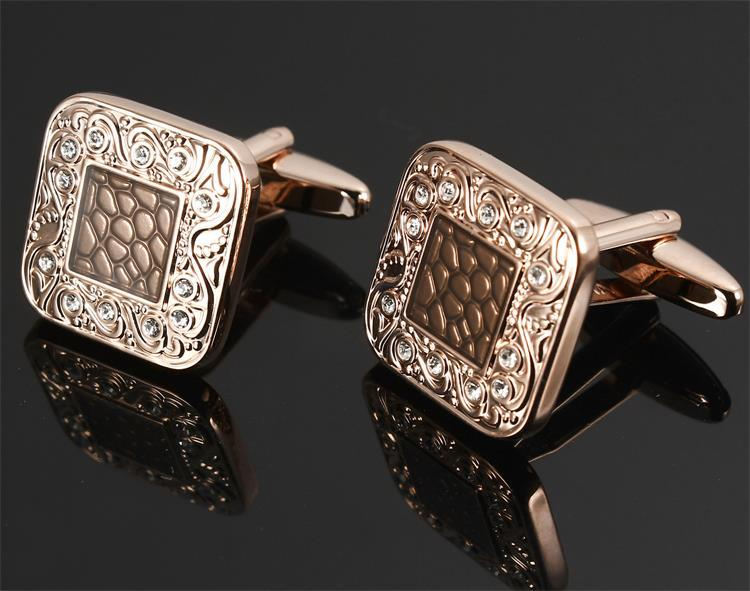 KU Square Button Men's Fashion Crystals Cufflinks Clear White & Jet Black Czech Transparent Black Epoxy Rose Gold Plated(China (Mainland))