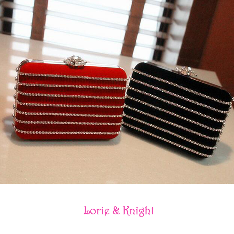 Two Sizes Shiny Rhinestone Noble Ladies Evening Party Bag Wedding Clutch Chain Sling Bag Cross Body Bag BLACK/RED<br><br>Aliexpress