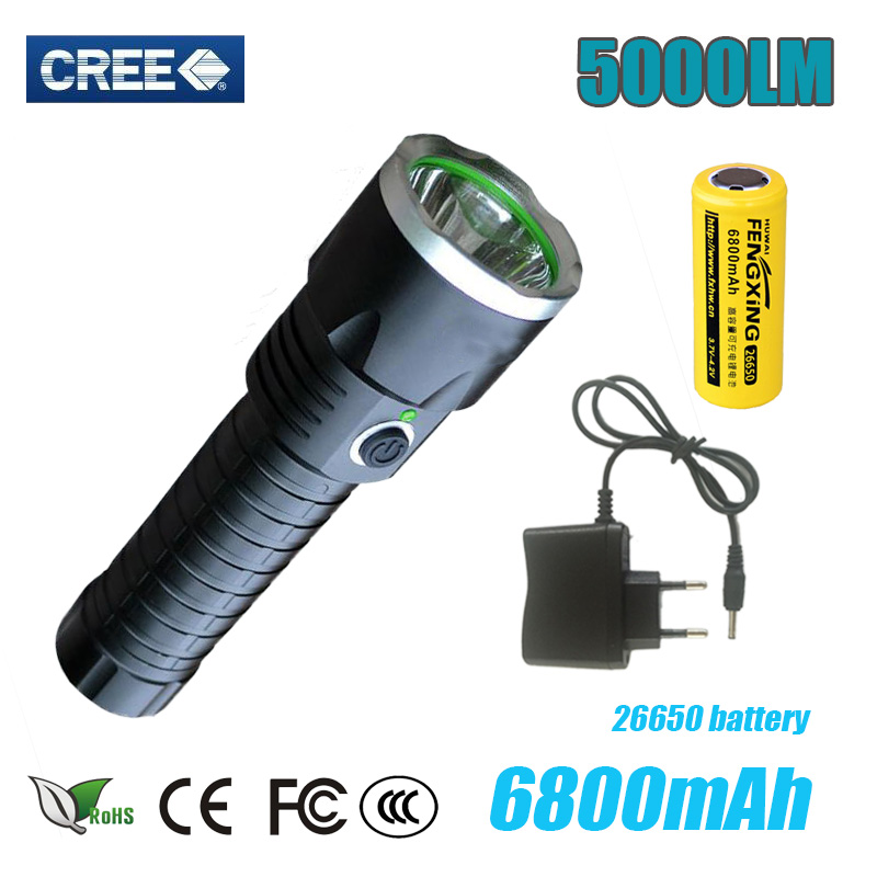Z50 Black Portable led Flashlight 5000LM CREE XM-L T6 waterproof led TorchLight Rechargerable flashlight for camping and hunting(China (Mainland))