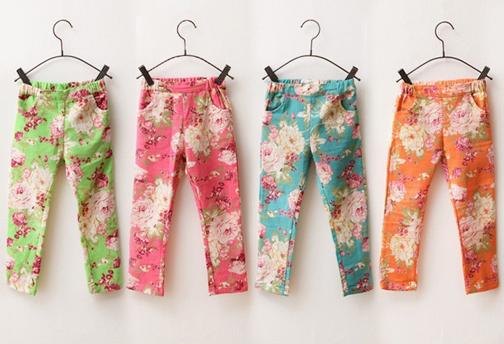 Cotton Leggings For Girl Fashion Children Print Colorful Denim Trousers Girls Printing Flower Pants 2014 Summer 2-7 Years<br><br>Aliexpress