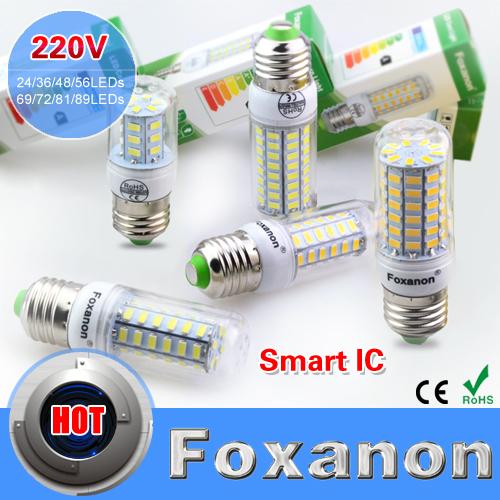 Foxanon E27 Led Light Smart IC Drive 220V 24 36 48 56 69 72 81 89Leds 5730 Corn Bulb lampada led Lamp Candle Spot light Lighting(China (Mainland))