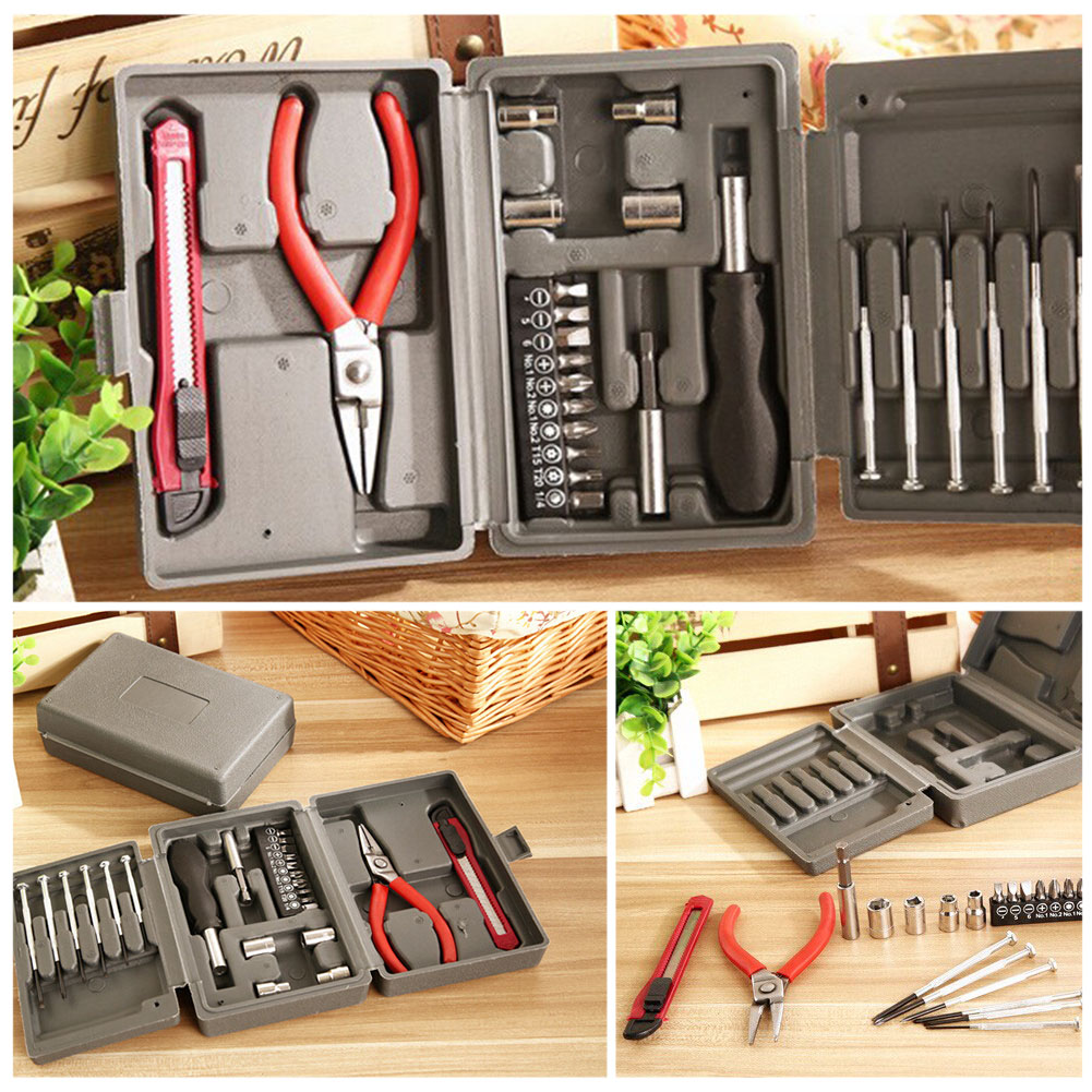 Carbon steel plastic box Tools Kit Packed Square Tool Box 24PC home-hardware combination toolbox 300*160MM(China (Mainland))