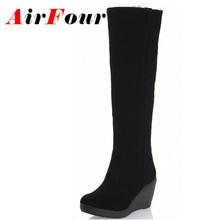 Airfour Tacones Rodilla Botas Negro Marrón Nuevo Invierno Caliente Zapatos de Algodón Acolchado cálido de Las Mujeres Altas Cuñas de Nieve de Cuero de Gamuza botas(China (Mainland))