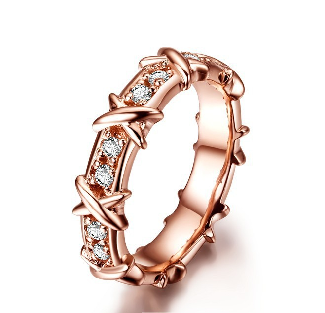 High Quality Engagement Rings for Women 18K Rose Gold Plated X Style Band Ring Synthetic Diamond Top 925 Sterling Silver Jewelry(China (Mainland))