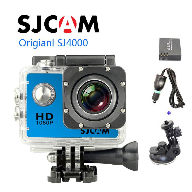 Free shipping!!Original SJCAM SJ4000 Full HD 1080P Waterproof Action Camera Sport DVR +Extra 1pcs battery+Car Charger+Holder