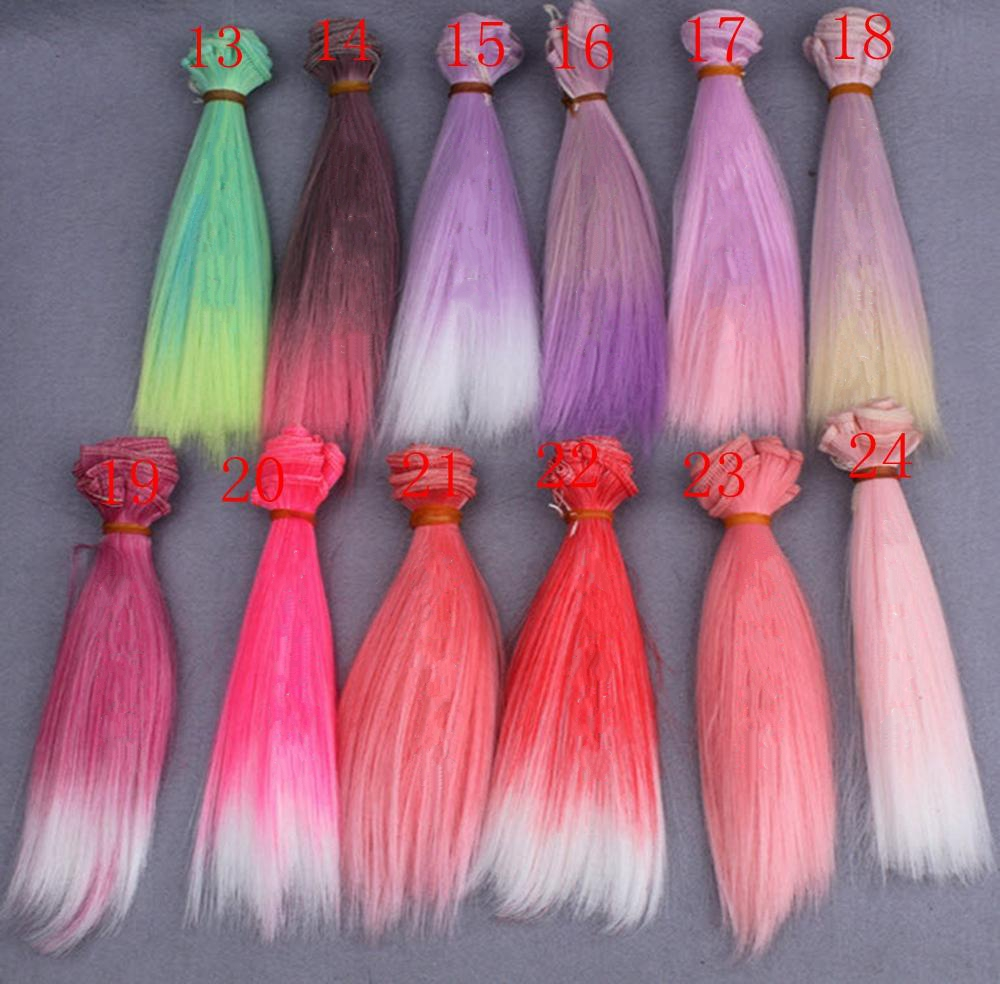 15*100cm Gradient Color DIY Wig High Temperature Wire Long Straight Hair For BJD Dolls DIY Pink Red Rose Green Purple(China (Mainland))