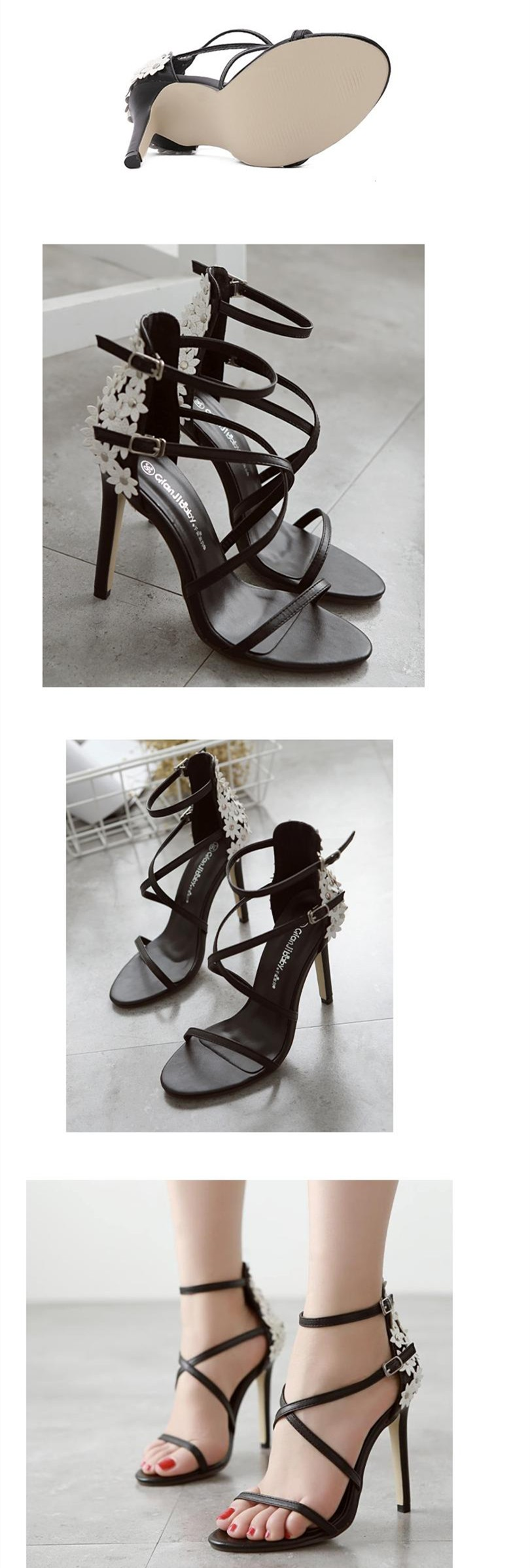 Size 4~9 Summer Black Women Shoes 11cm White Flower High Heels Shoes New Women Pumps zapatos mujer (Check Foot Length)
