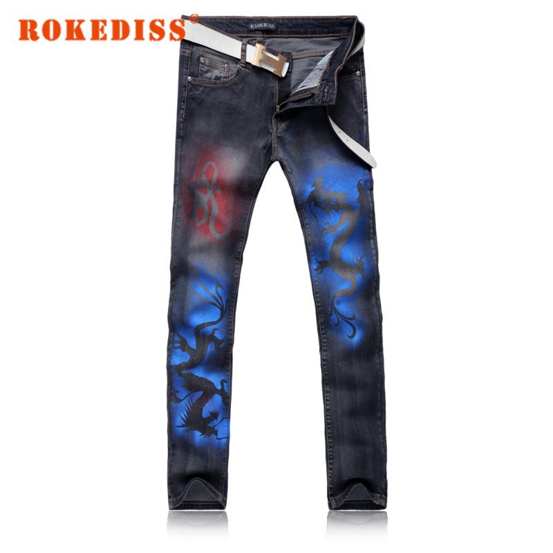 Скидки на Поддельные дизайнер одежды Индийский дракон Мужчин джинсы прямые мужская одежда Весной и летом модели узкие брюки жан hommes G248