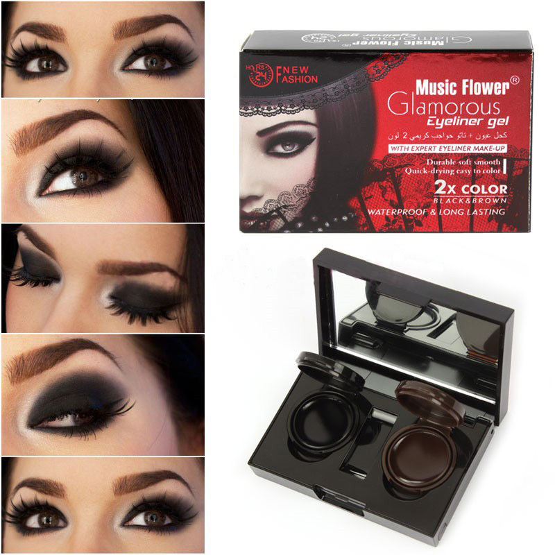 2015 New Brand 2 Colors Eyeliner Gel Eyeshadow Cream Palette Smoky Eyes Makeup Set With Mirror From Music Flower(China (Mainland))