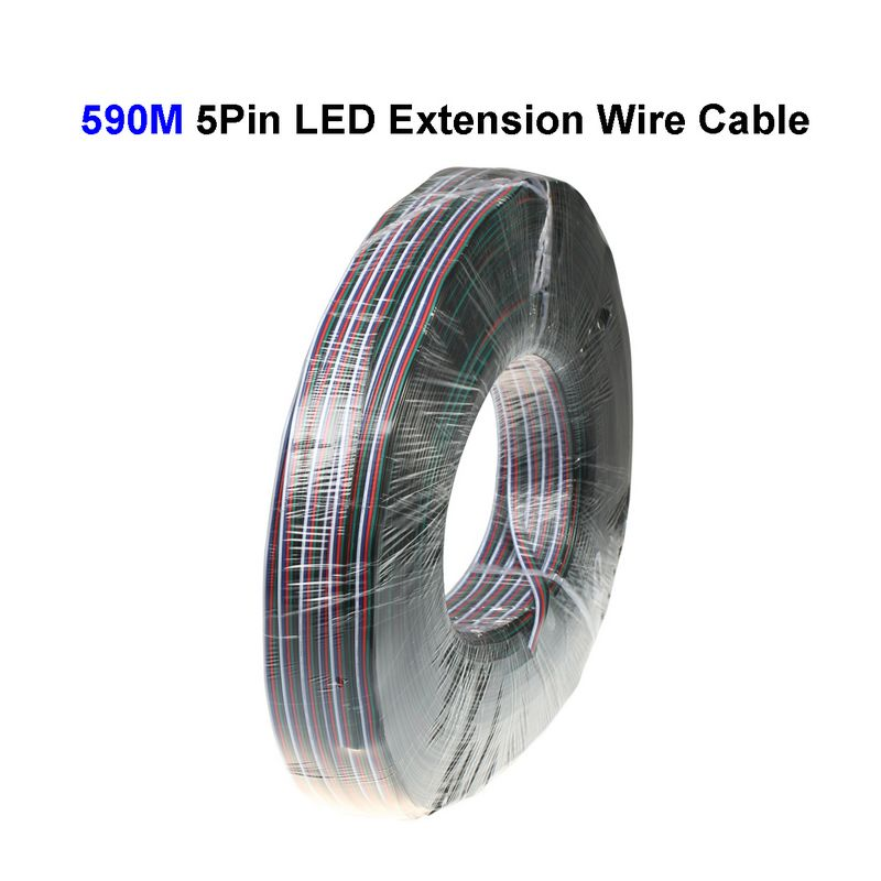 ( 3 reel/lot ) 5900M 22AWG 5 Pin RGBW LED Extension Connector Wire Cord For LED Lighting Connector Cable(China (Mainland))