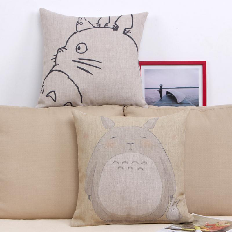 Hayao Miyazaki Style 45x45cm Home Decorative Pillow Totoro Printed Throw Pillow Car Home Decor Linen Cotton
