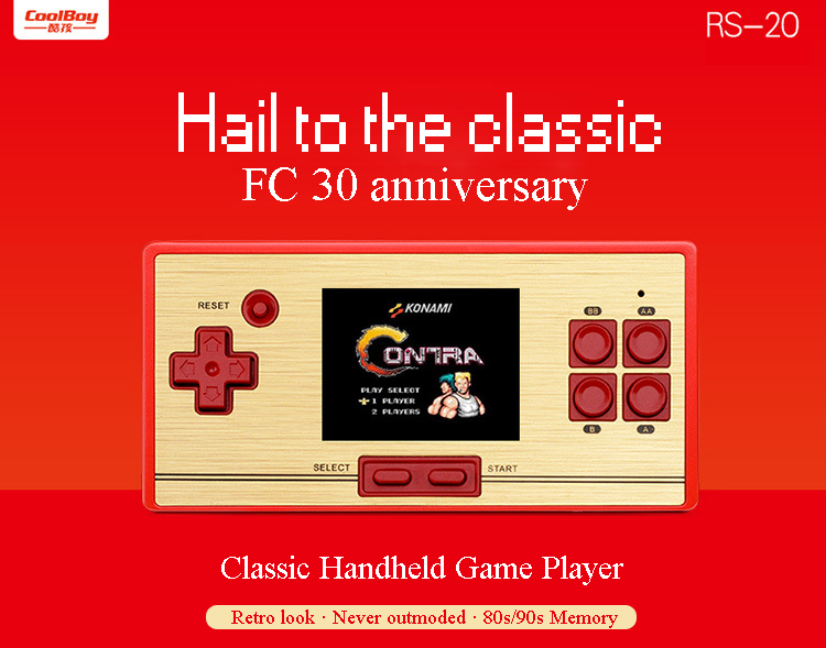 COOLBOY handheld game player RS-20 video game console 600 games gift for child Kid's present classic TV games freeshipping