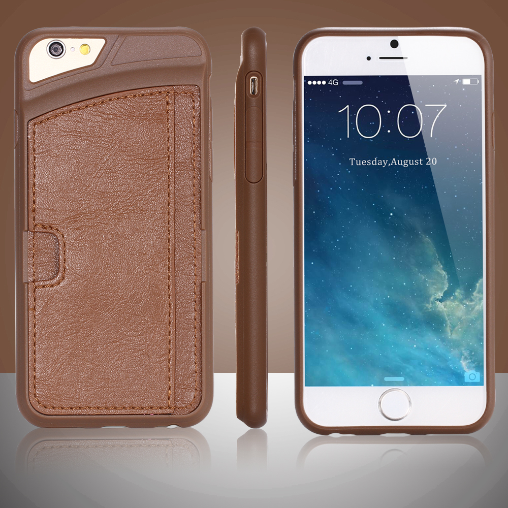 10DHL Retro Style Soft TPU Leather Phone Case iPhone 6 4.7 Inch Luxury Original Card Slot Cover Black White Brown - FLOVEMECASE Store store