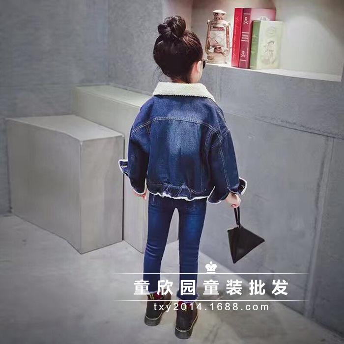 Скидки на 2016 Девушки Джинсовая Куртка утолщенной зима бархатная куртка милые украшения стеганые овечьей шерсти джинсовые куртки бесплатная доставка