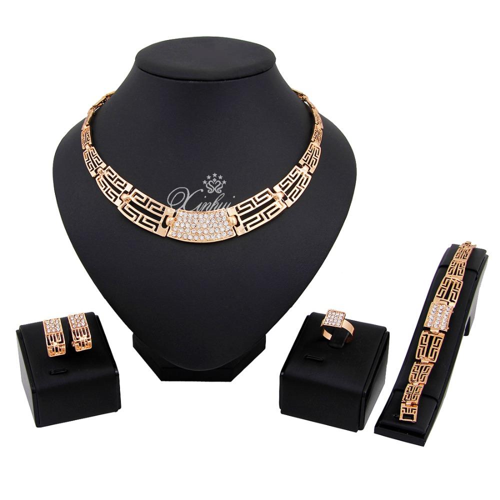Aliexpress.com Comprar Última Moda de Moda Cristal plateado del Oro Collar Pendientes Pulsera Fina Anillos Conjuntos de Fiesta de Las Mujeres Conjuntos de