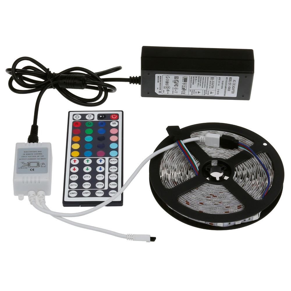 Retail Perfect set 5M 5050 RGB LED Strip Light Non-Waterproof 300 SMD 44 Keys Remote + 12V 6A Power Adapter(China (Mainland))