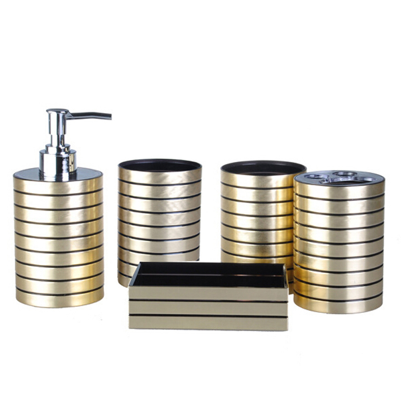 Metallic plastic bathroom accessories set soap dispenser for Bathroom accessories plastic