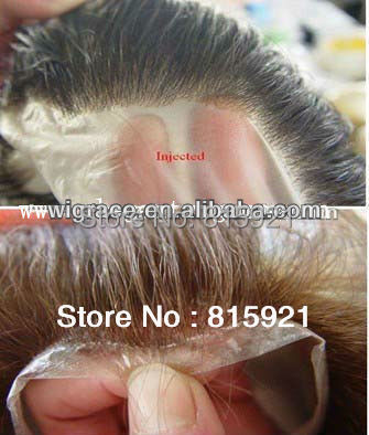 injection PU/thin skin base hair piece toupee human replacement men - EJS Shop store