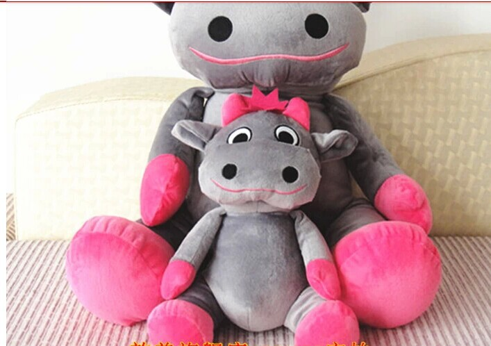 lovely cow plush toy sitting gray cow stuffed doll big mouth cow toy birthday gift about 35cm(China (Mainland))