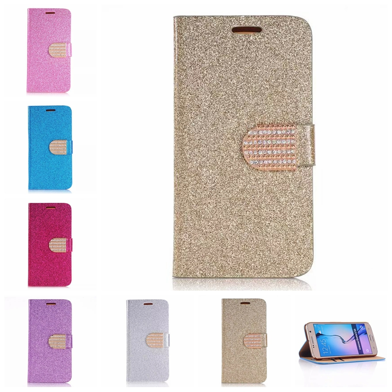 Sparkling Glitter Flip Leather Cover Book Design Case With Bling Bling Diamond For Samsung Galaxy S4 S5 S6 S7 edge i9190 S5mini(China (Mainland))