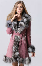 Fashion Womens Genuine Leather Coat with Fox Fur Trim Parka Winter Warm Leather Overcoat Long Coat with Waistband LX00123(China (Mainland))