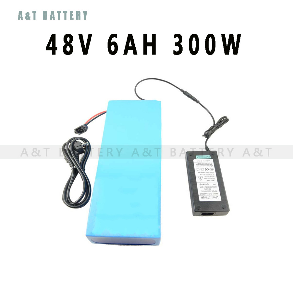 Ebike Lithium Battery 48v 6ah 300w 48V ebike Battery Pack Electric Bike Battery 48v with 54.6v 2A charger 15A BMS Free Shipping(China (Mainland))