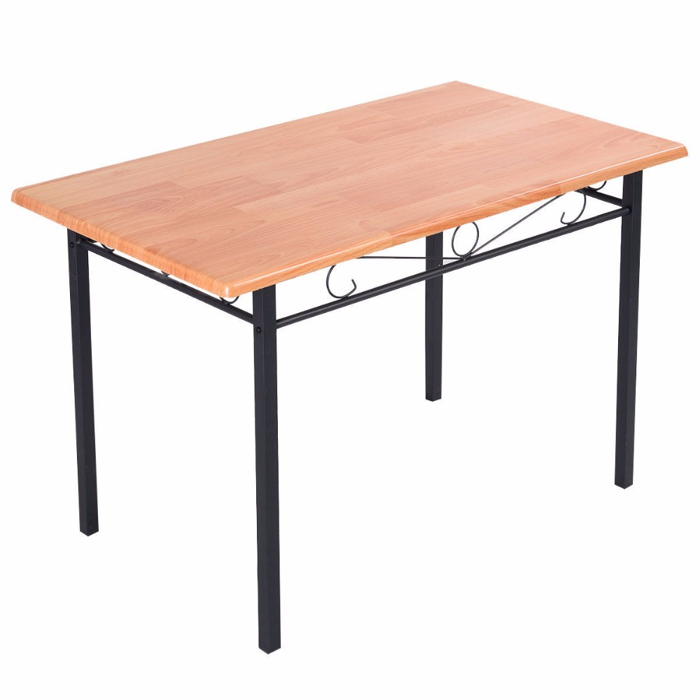 Steel frame dining table kitchen modern furniture bistro home durable wood new hw50130 in dining - Steel kitchen tables ...