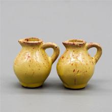 1:12 Miniatures 2PCS Vintage Porcelain Yellow Pot Vans Dollhouse Accessories Re-ment(China (Mainland))