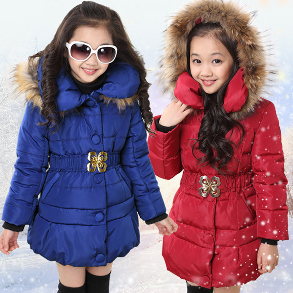 5-14 Years Winter Jacket For Girls Fashion Children Hooded Down Cotton Girls Parka Kids Winter Outerwear Coat Girls Warm Clothes(China (Mainland))