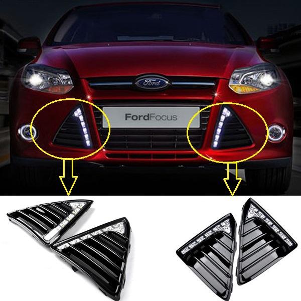 Фотография high quality 12V DRL LED Car light DRL Daytime Running Lights For Ford Focus 2012 2013 with fog light Car styling 2pcs/set