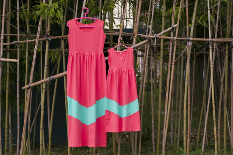 kids children frock designs Chevron knitted Cotton Solid Mommy And Me maxi dresses Striped Maxi Dress summer beach Dresses(China (Mainland))