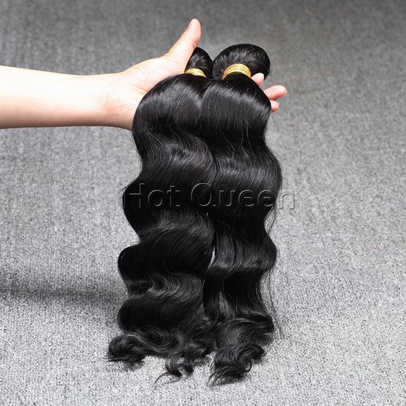 Unprocessed Brazilian Virgin Hair Wavy Brazilian Human Remy Hair Weave Wavy Natural #1b Brazilian Wavy Cheap Machine Hair Weft