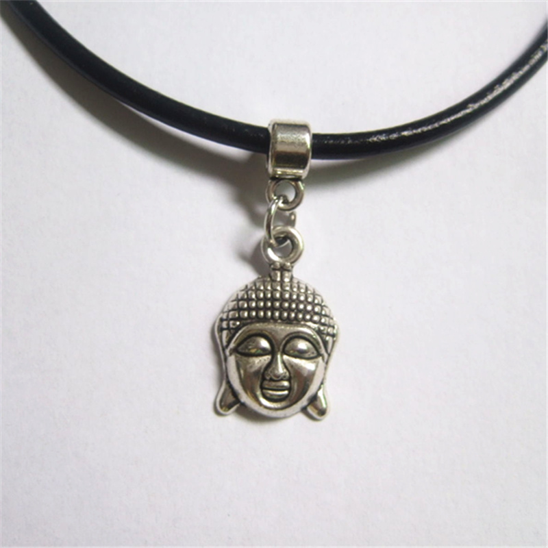 1 Pcs Antique Silver Thai Buddha Charms 13' 3mm Black Real Leather Chain Choker Necklace Pendants(China (Mainland))