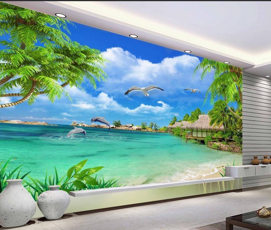 Modern 3d wallpaper landscape photo Palm Murals nature vinyl sticker roll tv backdrop brick walpaper(China (Mainland))