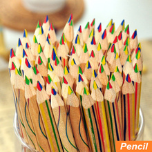 Buy 10 pcs/Lot Rainbow color pencil 4 1 colored pencils drawing Stationery drawing Office material school supplies 6292 for $4.88 in AliExpress store