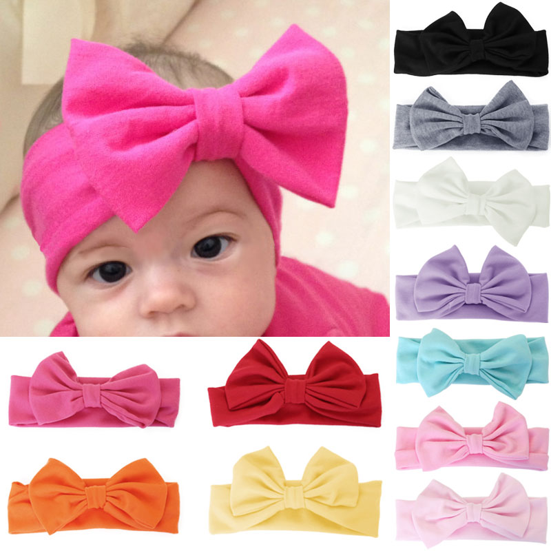 10 Colors Hot Baby Girls Big Bow Hairband Stretch Turban Knot Head Wrap Kids Solid Cotton Headband Wrap Head Node W1(China (Mainland))