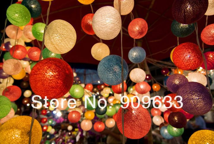 3pcs/lot 20 Bulbs Cotton Ball Light Lamp String Strip Lantern Tone Handmade Home Decor Fairy Wedding Xmas Party 8 Colors Choose(China (Mainland))