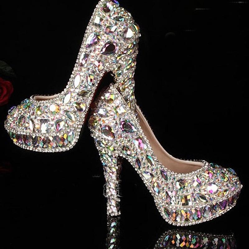 2015 newest crystal rhinestone Shiny high heel female lady's Women Bridal Evening Prom Party club Bar Wedding Bridesmaid shoes