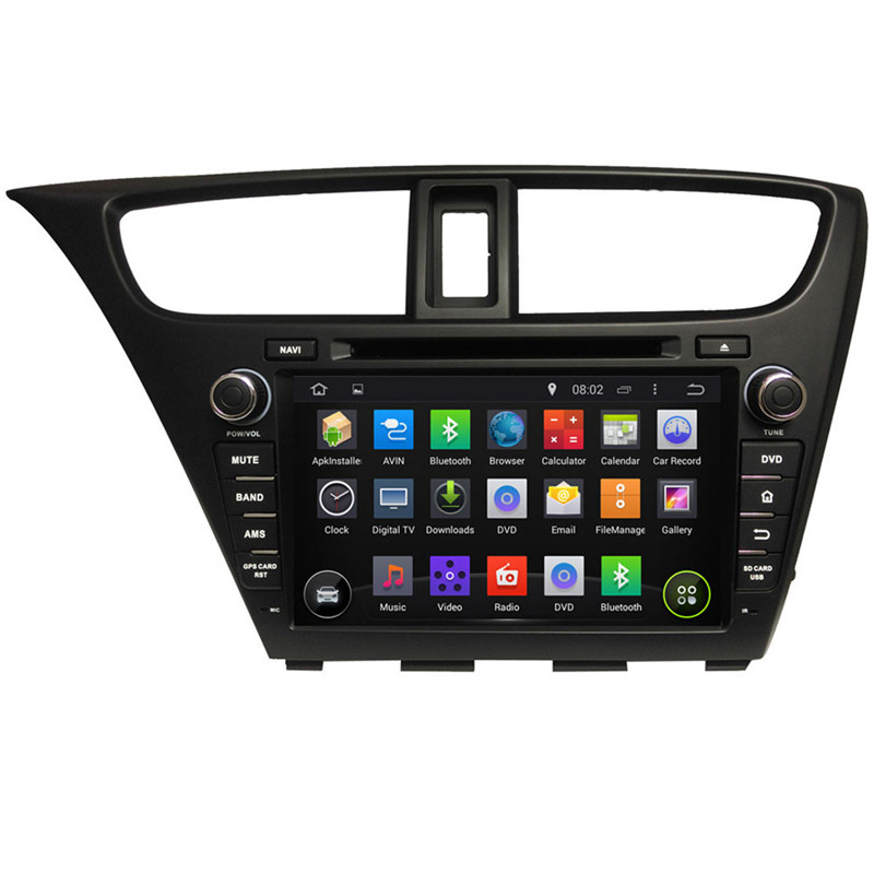 1024*600 Quad Core 16G 8'' Pure Android 5.1.1 Car DVD GPS Audio Player for Honda Civic 2014 with Free Map Free Shipping(China (Mainland))