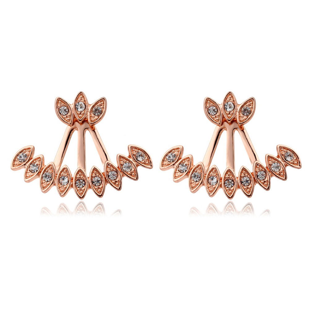 New Double Sided 18K Rose Gold Plated Peacock Pattern Crystal Back And Front Swing Stud Earrings Fashion Womens Girls Jewelry(China (Mainland))